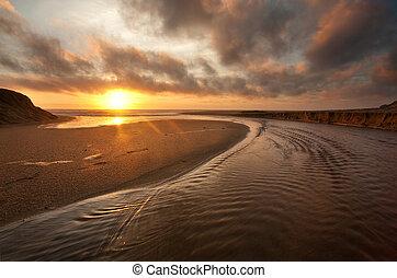 californie, plage, coucher soleil