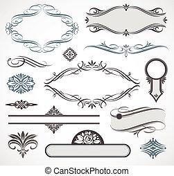 calligraphic, éléments, conception, page, &