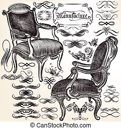 calligraphic, chears, flourishes, vecteur, collection
