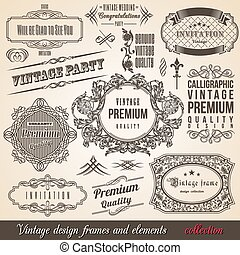 calligraphic, coin, frontière, élément