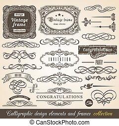 calligraphic, vecteur, élément
