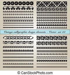 calligraphic, vendange, éléments, conception