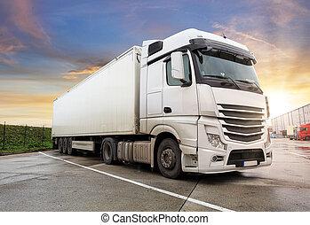 camion, asphalte, route rurale, paysage, coucher soleil