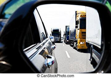 camion, confiture, trafic, autoroute