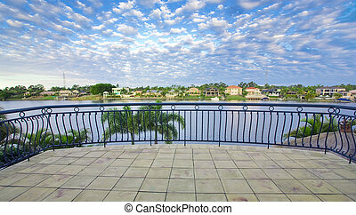 canal, négligence, vues, front mer, manoir, balcon