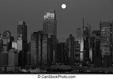 capture, sur, hudson, york, nuit, cityscape, nouveau