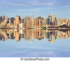 capture, vibrant, sur, hudson, midtown, york, nouveau, après-midi