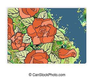 card., vendange, salutation, aquarelle, roses, conception, modèle
