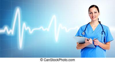 care., docteur, santé, monde médical, woman.