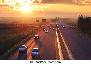 cargaison, concept., voitures, transport, autoroute