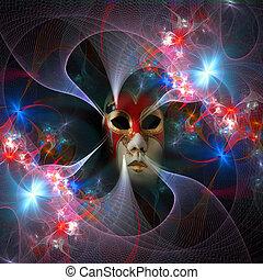 carnaval, modèle, masque, surréaliste, clair, grille, fractal