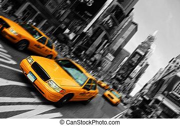 carrée, mouvement, taxi, barbouillage, ville, temps, york, foyer, nouveau