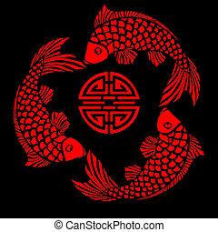 carreau, conception, fish, laque