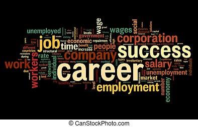 carrière, concept, mot, nuage, étiquette