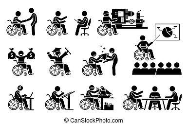 carrière, icons., réussi, bon, travail, personne, avoir, crosse, handicapé, figures