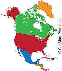 carte, amérique, nord, coloré