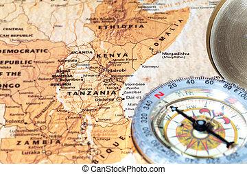 carte, ancien, vendange, destination voyage, compas, tanzanie, kenya