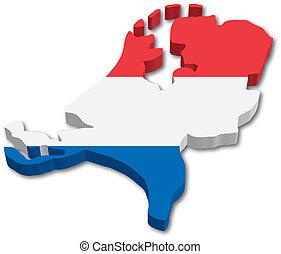 carte, drapeau, hollande, 3d