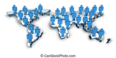 carte, global, mondiale, communications