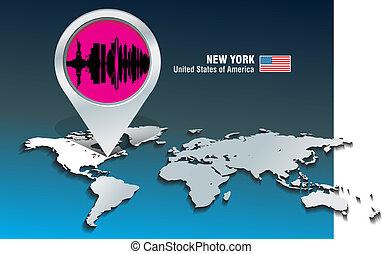 carte, horizon, york, épingle, nouveau