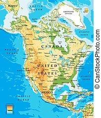 carte, nord, physique, amérique
