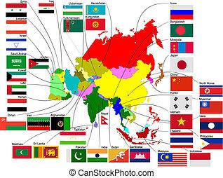 carte, pays, illustration, vecteur, asie, flags.