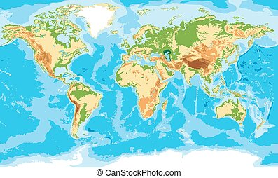 carte, physique, mondiale