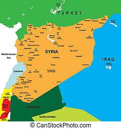 carte, politique, syrie