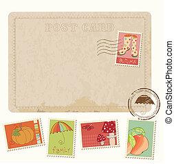 carte postale, -, automne, timbres, conception, retro, invitation, album
