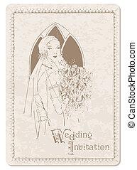 carte postale, invitation, -, mariée, conception, retro, mariage, album