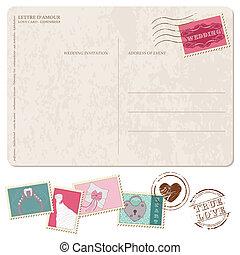 carte postale, invitation, -, timbres, conception, retro, mariage, album