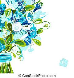 carte postale, texte, endroit, ton, floral