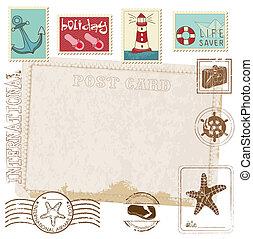 carte postale, -, timbres, conception, retro, mer, invitation, album