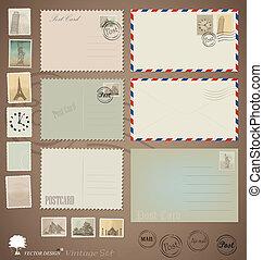 carte postale, vendange, conceptions, vecteur, stamps., enveloppes, set: