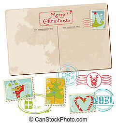 carte postale, vendange, -, noël, invitation, timbres, salutations, album, conception