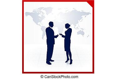 carte, silhouettes affaires, fond, équipe, mondiale, constitué