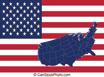 carte, uni, &, etats, drapeau, amérique