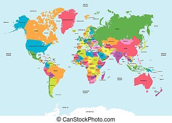 carte, vecteur, politique, mondiale