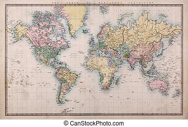 carte, vieux, projection, mondiale, mercators