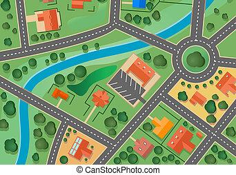 carte, village, banlieue