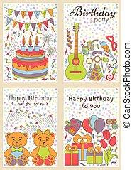 cartes, anniversaire, ensemble