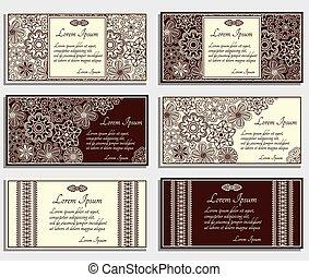 cartes, ensemble, beige, invitation