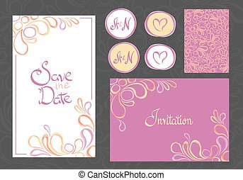 cartes, ensemble, invitation