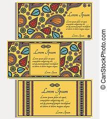 cartes, ensemble, jaune, invitation