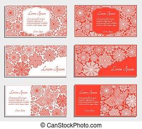 cartes, ensemble, rouges, invitation