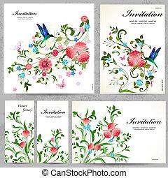 cartes, floral, mettez stylique, ton