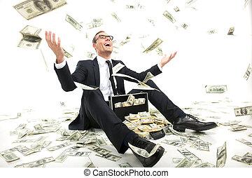cas, entiers, séance, lancement, argent, rich!, jeune, formalwear, haut, monnaie, quoique, papier, homme affaires, heureux