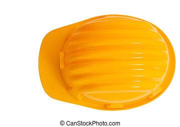 casque, construction, fond, isolé, vue, protection, sommet, sécurité, blanc