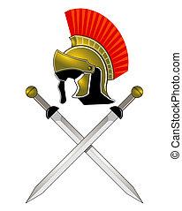 casque, romain, épées