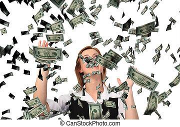 cathing, business, dollars, tomber, femme